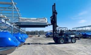 pontoon forklift stacking
