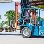 Operator of Marine Travelift Forklift